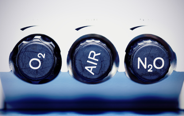 Air, oxygen, nitrous oxide - medical gases. concept.
